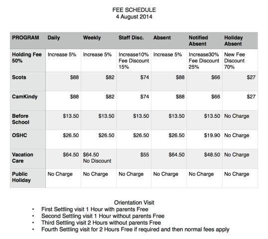 Scots ELC Fee Schedule 2014